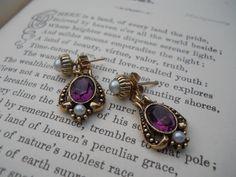 Vintage Avon pearl and purple rhinestone earrings