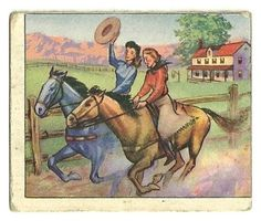 Old Wild West Bowman Gum Series Card Cowboy Life Cowgirl Horse Race 1949