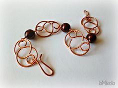 Braccialetto in rame con perle color bronzo - Tecnica wire handmade