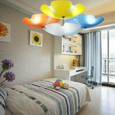 Morden Minimalist Rural Glass Big Flower Bedroom Ceiling Lamp Romantic Warm Children's Room Lights -3