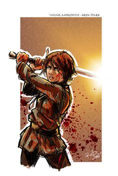 "Arya Stark by Robbertopoli on deviantART. ""A long time ago, she remembered her father saying that when the cold wind blows the lone wolf dies but the pack survives. He had it all backwards. Arya, the lone wolf, still lived, but the wolves of the pack had been taken and slain and skinned."""