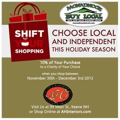 Shift Your Shopping for Good! When you shop at our downtown location, or in our online store, you can donate 10% of your purchase to a charity of your choice! #Keene #NH
