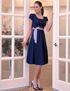 Kelsey A-line dress with silver tie. - White Elegance - Makers of LDS Temple Clothes, Temple Dresses, Pioneer Costumes and Modest Dresses, Modest Outfits, Modest Fashion, Cute Dresses, Cute Outfits, Bridesmaid Dresses, Modest Clothing, Jw Fashion, Amazing Dresses