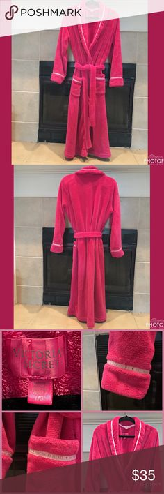 Victoria's Secret Softest, Coziest PINK Robe 💗Victoria's Secret Super Gorgeous Softest Plush PINK Robe.💗 Trimmed in Ribbon 🎀decorated with Hearts 💕 and Victoria's Secret.  Beautiful in iconic PINK. 💗Examine photos to determine you're happy with condition. I'm also happy to answer questions & provide additional photos. ❄️Nonsmoking, pet friendly (Morkie) home.        💋Bundle with my other Victoria's Secret Nightwear & SAVE!❤ PINK Victoria's Secret Intimates & Sleepwear Robes