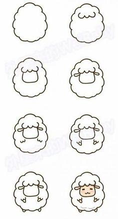 sheep drawing step by step - sheep cute step drawing . - Cute sheep drawing step by step - sheep cute step drawing . - Cute sheep drawing step by step - sheep cute step drawing . Cute Easy Drawings, Kawaii Drawings, Doodle Drawings, Simple Drawings For Kids, Simple Cartoon Drawings, Simple Animal Drawings, Pencil Drawings, Eye Drawings, Easy Drawing Tutorial