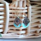 Teal Gold and Brass Teardrop Earrings E1768