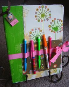 Cover a journal + add pens and glue sticks = Smash book to carry around!