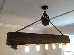 6 Ft Rustic Beam Edison Bulb Chandelier With Vintage Barn Pulley 572 C Pinterest Beams Bulbs And