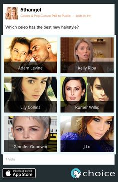 Which #celebrity has the best new #hairstyle in July?  Make your #Choice www.choiceapp.co