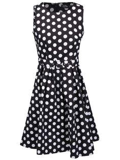 Černo-bílé puntíkované šaty s páskem Dolly & Dotty Annie