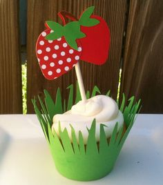 Strawberry Cupcake toppers & wrappers  by LittlePixieStix on Etsy, $14.00