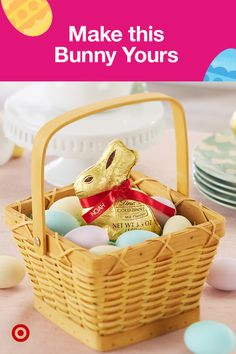 Make Lindt GOLD BUNNY uniquely yours. Shop now for Easter at Target. Personalization options, provided by Lindt, can be found at mygoldbunny.com. Lindt Gold Bunny, Michaels Craft, Happy Easter Everyone, Easter Table Decorations, Wedding Cake Inspiration, Hoppy Easter, Easter Treats, Easter Baskets, Craft Gifts