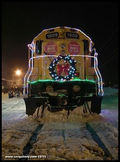A nose view of GP38-2 1809 as the Ontario Northland Christmas Train visits the town of Iroquois Falls December 9, 2013