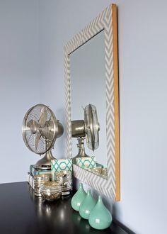 DIY West Elm-Inspired Herringbone Mirror - Chevron Fabric, Wood Veneer, E6000, and Elmer's spray on glue. WOW