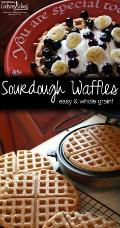 Whole Grain Sourdough Waffles | Today, Erin is sharing a recipe for whole grain sourdough waffles. Using this recipe, you can create your waffles from room temperature starter. Do you have two cups of starter out at room temperature? Good -- you can make waffles right now! | TraditionalCookingSchool.com
