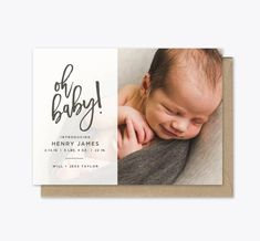 Oh Baby Photo Baby Announcement Printable by KindredInkDesigns Baby Arrival Announcement, Baby Announcement Photos, Birth Announcement Girl, Birth Announcements, Newborn Photography Poses, Newborn Photos, Baby Stocking, Printable Baby Shower Invitations, Baby Album