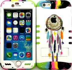 """White, Black and Rainbow """"Dreamcatcher Colorful Feathers with Non-Slip Grip Texture"""" 3 Piece Layered ULTRA Tuff Custom Armored Hybrid Case for the NEW iPhone 6 Plus 5.5"""" Inch Smartphone by Apple {Made of Soft Silicone Gel and Hard Rubberized Plastic with External Built in Kickstand} """"All Ports Accessible"""""""