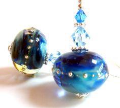 Blue Swirl Earrings, Blue Aqua Sapphire Glass Beaded Earrings, Blue Handmade Lampwork Earrings with Silver Droplets, Mysterious