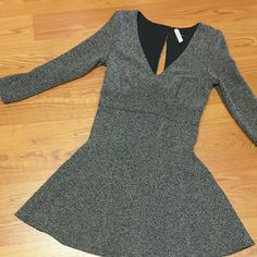 Free People skater dress EUC,  size small. Black and gray blend, 100% rayon. V-neck with a small but cute open back (see pic #3) Free People Dresses