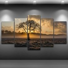 Canvas Painting Vintage Wall Art Frame Printed Pictures 5 Panel Poster Sunrise Tree Landscape Photo For Living Room Decor PENGDA(China)
