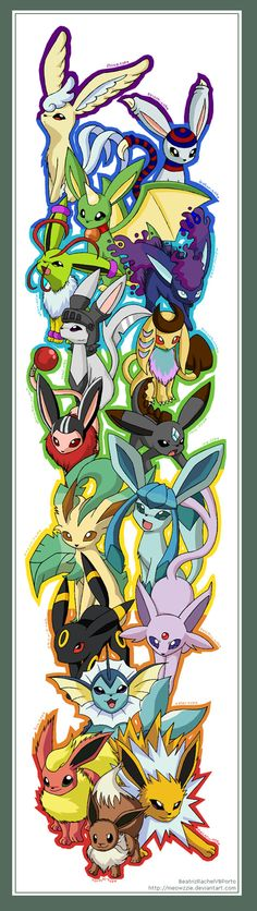 Eevee n all its evolutions :D by Meowzzie.deviantart.com on @deviantART