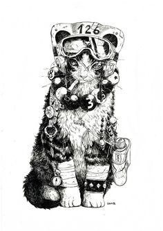 by shun izumi - art - Katzen Art And Illustration, Illustrations, Kunst Inspo, Art Inspo, Art Manga, Anime Art, Fantasy Kunst, Fantasy Art, Cyberpunk Kunst