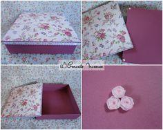 Caixa em MDF, decoupagem com guardanapo floral, fitas na lateral da tampa, e pitura.