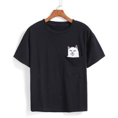 SheIn(sheinside) Cat Animal Patch With Pocket T-shirt (€7,91) ❤ liked on Polyvore featuring tops, t-shirts, shirts, black, black cat shirt, cat t shirt, embellished t shirts, pocket tees and animal t shirts