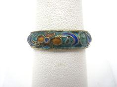 Enamel Ring - Blue Enamel Cloisonne Jewelry