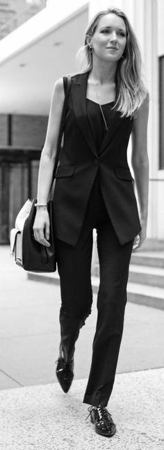 modern suit vest, slim fit suit pant, black camisole, patent leather oxford + lizard embossed cross body bag, sunglasses {@AmazonFashion} #sp