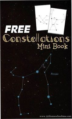 FREE Constellations Mini Book - This free printable stars book helps kids learn about the different constellations in the night sky. Perfect for an astronomy unit for homeschool, science project, summer activity for kids in kindergarten, 1st grade, 2nd grade, 3rd grade, 4th grade, 5th grade, and more. by bernadette