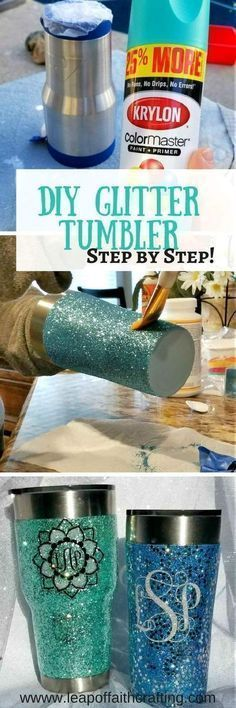 Glitter Tumbler DIY Tutorial You'll Love from Start to Finish! - Leap of Faith Crafting - Diy - Learn how to apply epoxy to a glitter tumbler! Make your own DIY personalized glitter yeti or stain - Tumbler Diy, Diy Tumblers, Tumbler Cups, Glitter Tumblers, Custom Tumblers, Cute Crafts, Crafts To Make, Easy Crafts, Vinyl Projects