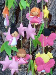 Felt mobile with fairies and stars. Lightweight and sturdy, to hang on a curtain rod or hook to the ceiling. Width 15 cm Length from the green circle 42 cm Ready to send. Felt Crafts, Fabric Crafts, Sewing Crafts, Diy Crafts, Craft Projects, Sewing Projects, Crafts For Kids, Arts And Crafts, Baby Mobile