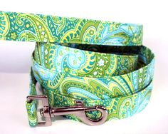 Dog Leash  Mojito Mint Paisley by CreatureCollars on Etsy, $24.00