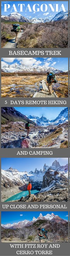 5 Days of Hiking in Patagonia – Basecamps Trek. A world's top 100 travel adventure, up close and personal with Fitz Roy and Cerro Torre, in Argentina's Patagonia. Of course, we're not talking about day hikes either. We're talking about strapping on your backpack, carrying all your own supplies and heading off on the trails into the backcountry. Click to read more #AdventureTravel #Patagonia #Travel #Argetina #outdoortravel
