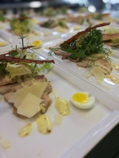 Mouth watering thin-sliced poached pork loin salad. Gorgeous starter from Galloping Gourmet Premiere package.