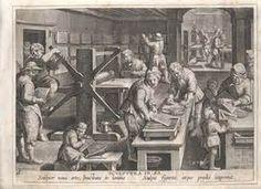 Hierboven zie je een voorbeeld van de boekdrukkunst in de Renaissance. Je ziet hoe hard alle mensen aan het werk zijn.