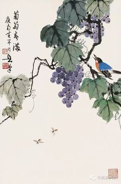 Chinese Painting Flowers, Chinese Flowers, Oil Painting App, Sumi E Painting, Watercolor Brushes, Watercolor Paintings, Vine Drawing, Vine Tattoos, China Art