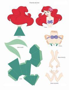 Si reñirá Disney Diy, Disney Crafts, Little Mermaid Birthday, Little Mermaid Parties, The Little Mermaid, 3d Paper Crafts, Paper Toys, Paper Crafting, Princess Crafts