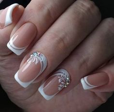 19 Easy and Beautiful Nail Art Designs 2019 just for you trendy nail designs attracted the craze of most women and girls. Nail Art Designs offers a multitude of v … Nail Styles French Manicure Nail Designs, French Nail Art, Nail Manicure, Nail Art Designs, Manicure Ideas, Fancy Nails, Cute Nails, Nails Design With Rhinestones, Bride Nails
