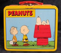 "Peanuts Collectible Lunch Box/Tin - $14.99, via Bonanza - This is a collectible Peanuts tin that occasionally doubled as a lunchbox, albeit a slightly smaller one (8"" X 6"" X 3.75"") without a matching thermos. I believe it is from the 1960s to 1970s. A great piece for any Peanuts collector or vintage lunchbox collector."