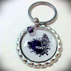 Fibromyalgia Awareness Bottlecap Keychain