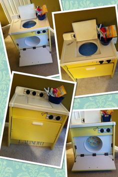 ADORNBoutique Hand restored- Resale Item- A must have to complete you childs Pretend Play....Hand Restored Wooden Pretend Play Washer/Dryer.