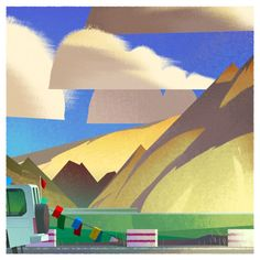Soft and hard edge illustration of Tibet. Unknown creator.