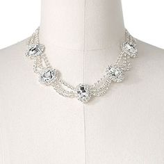 Apt. 9 Silver Tone Simulated Crystal Framed Oval Swag Necklace