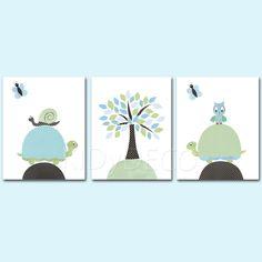 Lot 3 illustrations pour chambre enfant de bébé art decor pépinière décoration vert et bleu tortue hibou arbre papillon pépinière garçon par KidYDeco sur Etsy https://www.etsy.com/fr/listing/217688459/lot-3-illustrations-pour-chambre-enfant