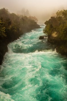 Huka Falls rapids in Taupo, New Zealand