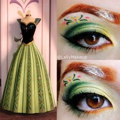 2015 Disney Frozen Anne flower eye makeup fro Halloween - Snow Princess, green - dream catcher by allie5