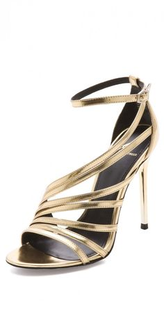 Gold Strappy Sandals#prom