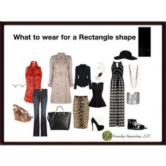 """What to wear for a Rectangle shape"" by visuallyappealingllc on Polyvore"
